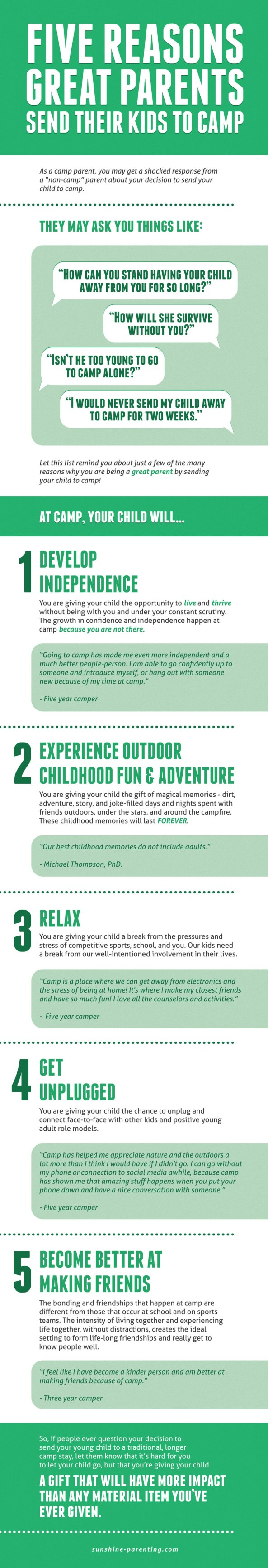 DEVELOP INDEPENDENCE -  EXPERIENCE OUTDOOR CHILDHOOD FUN & ADVENTURE - RELAX - GET UNPLUGGED - BECOME BETTER AT MAKING AND KEEPING FRIENDS