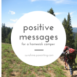 positive messages for a homesick camper